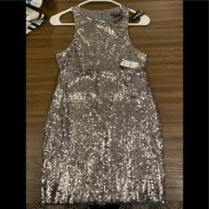 New Years EXPRESS 2 pc dress silver sequin NWT
